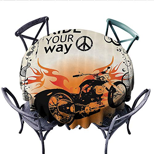 Manly Decor Washable Tablecloth Motorcycle mage with Ride Your Way Text Peace Sign Freedom Action Freestyle Table Cover for Kitchen (Round, 36 Inch,)]()