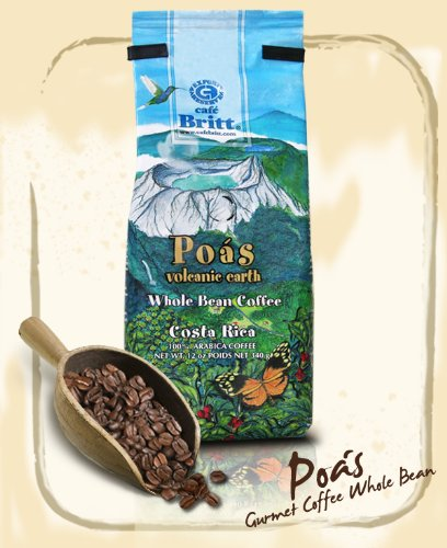 Only Origin from Poas Costa Rica, Cafe Britt 100% Gourmet Arabica, Whole Bean 12 oz coffee, Kosher certified