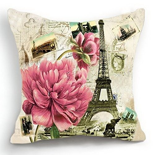 Retro Vintage Paris Effiel Tower Pink Flower Home Pillow Case Cushion Cover 18