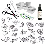 BodyJ4You 201PC Body Piercing Kit Lot 14G 16G Belly Ring Labret Tongue Tragus Aftercare Spray