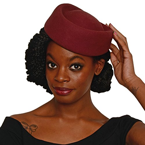 Stewardess Style Oval Pillbox Hat - Cocktail, Party, Wedding, Church (Burgundy) - Felt Pill Box