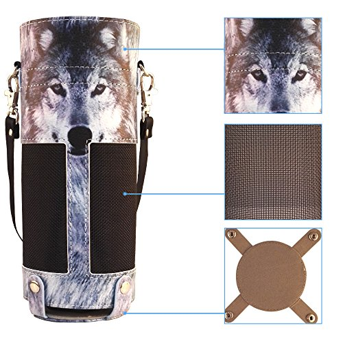 (Protective Carrying Case for Amazon Alexa Echo - Premium Faux Leather artistic Cover Sleeve Skins with Holding Strap Siberian Husky Wolf Design from Zzteck)