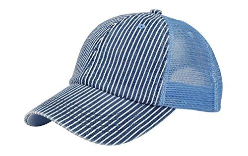 G Men's Low Profile Pinstripe Denim Trucker Cap (Denim Pinstripe Cap)