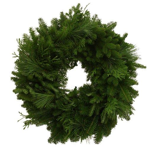 Worcester Wreath 24-Inch Mixed Greens Maine Balsam Wreath
