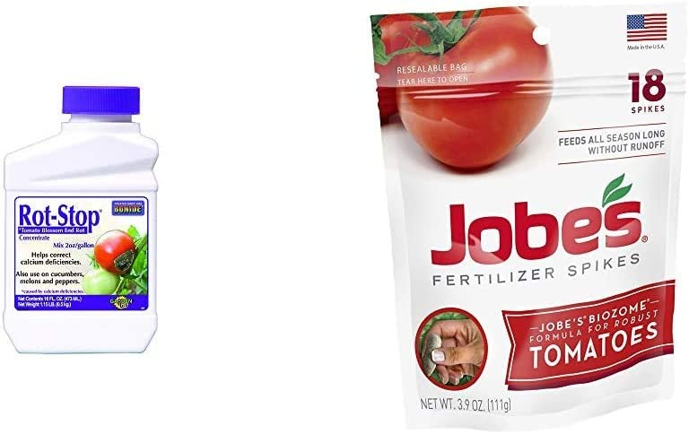 Bonide (BND166 - Rot Stop Tomato Blossom End Rot Concentrate (16 oz.),Brown/A & Jobe's Tomato Fertilizer Spikes, 18 Spikes