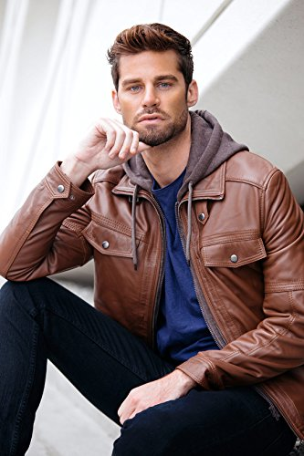Mens Leather Bomber Jacket with Removable Hood