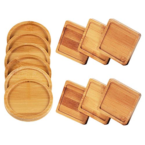 Diameter Coaster - Unime 12 Pack Bamboo Trays Set Bamboo Plant Saucer for Small Plant Pot Flower Pot, Square Bamboo Trays and Round Bamboo Trays for Owl Pot with Hole