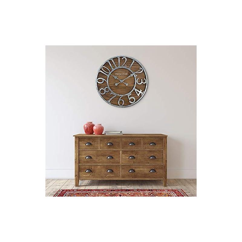 PresenTime & Co Vintage Farmhouse Series, Galvanized Rustic Barnwood Clock, 19.5 inch, Galvanized Finish, Arabic…