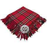 Scottish Fly Plaid With Brooch Royal Stewart