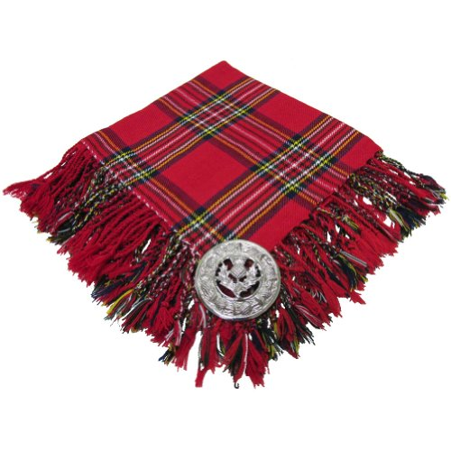 - Scottish Fly Plaid With Brooch Royal Stewart