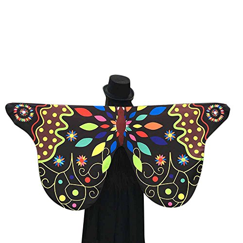 Bokeley Women's Party Prop Soft Fabric Butterfly Wings Shawl Fairy Ladies Nymph Pixie Poncho Costume Accessory (Black 3)]()
