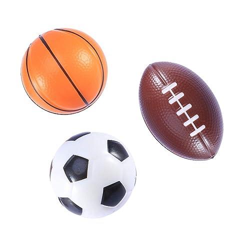 2bff6ef34410e LUOEM 3 Piezas de Mini balones Deportivos Favores de Fiesta Pelota de  fútbol Pelota de Espuma