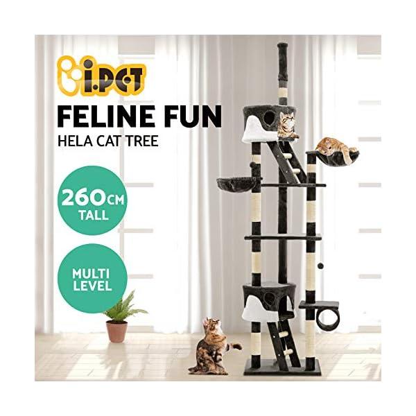 Cat Scratching Tree Post Sisal Pole Condo House Furniture Multi level Grey 260cm 2