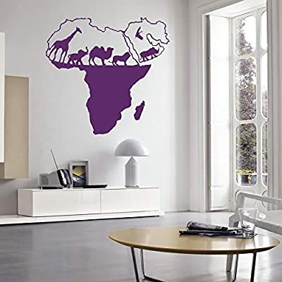 """Amazon.com: Wall Decal Vinyl Sticker Wild Nature Animal World Map of Africa Continents Home Decor Office Children's Room Travel Agency Design Mural 22"""" x ..."""