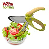 Salad Tongs - Warmhoming Non-slip Grips Toss and Chopped Salad Scissors with Stainless Steel Blades (Green)