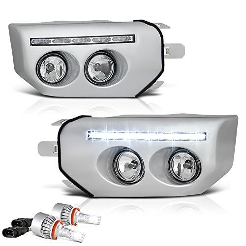 [Built-In LED Bulbs] VIPMOTOZ For 2007-2015 Toyota FJ Cruiser LED Strips DRL Fog Lights - Metallic Chrome Bezel, Driver and Passenger Side