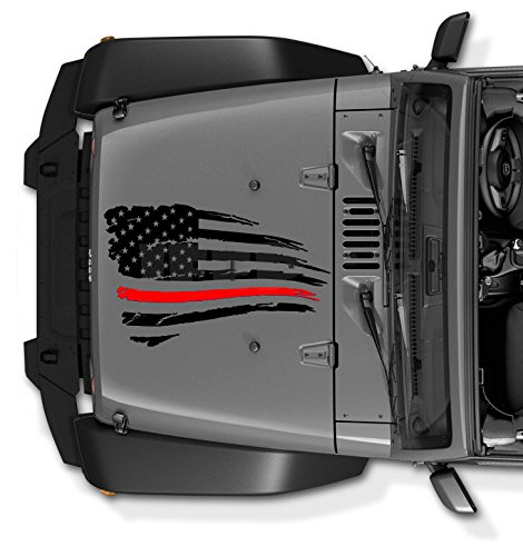 (COZARIKA Thin Red Line Jeep Wrangler Decal Tattered Distressed USA American Flag USA Made + Free Decal (Black))