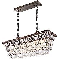 Wellmet Dining Room Crystal Chandelier,30 inch Antique Bronze Rectangle Crystal Ceiling Light,4 Lights Farmhouse Kitchen…