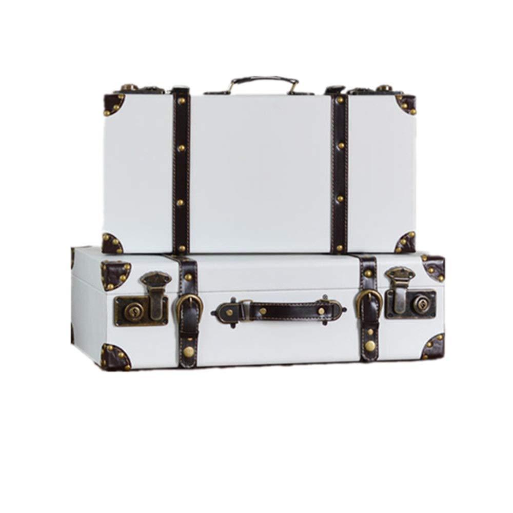 HO-TBO Dekorative Koffer Set 2 Vintage-Aufbewahrungsbehälter-Koffer for Schlafzimmer, Wohnzimmer mit Griffen und Sperren Clasps Zeigt Crafts (Farbe : Weiß, Größe : L+S)