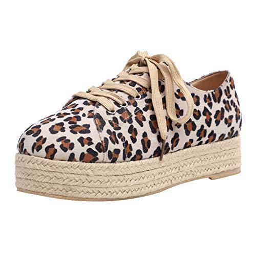 Shusuen Women Leopard Flat Loafers Slip On Casual Ankle Shoes Beige