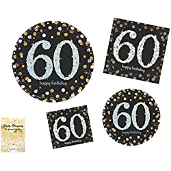 60th Birthday Party Supplies, Sparkling Celebration Design, Bundle of 4 Items: Dinner Plates, Dessert Plates, Lunch Napkins and Beverage Napkins
