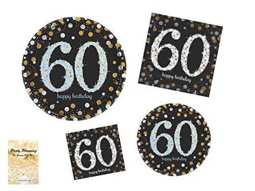 60th Birthday Party Supplies, Sparkling CelebrationDesign, Bundle of 4 Items: Dinner Plates, Dessert Plates, Lunch Napkins and Beverage Napkins