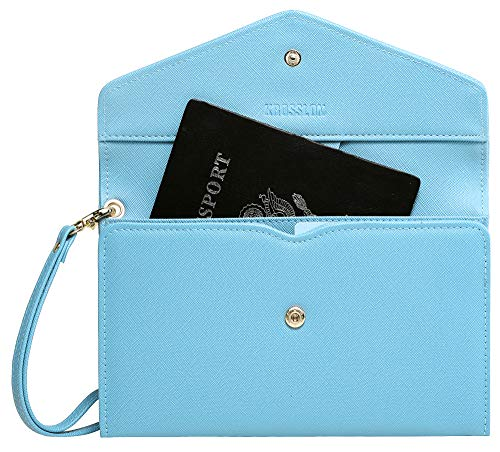 Krosslon Rfid Travel Passport Wallet for Women Slim Holder Wristlet Document Organizer, 203# Blue Hawaii