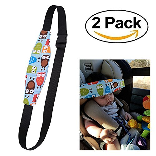 HULISEN 2Pcs Infants and Baby Head Support Pram Stroller Safety Seat Fastening Belt Adjustable Playpens Sleep Positioner (Blue)