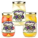 Jake & Amos Pickled Eggs Variety Pack 16 oz. Pickled Eggs, Buffalo Eggs, Jalapeño Eggs (1 Jar of Each)