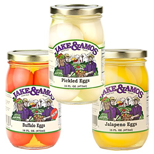 Jake & Amos Pickled Eggs Variety Pack 16 oz. Pickled Eggs, Buffalo Eggs, Jalapeño Eggs (1 Jar of (Pickled Eggs)