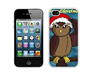 Christmas Owls White For Apple Iphone 4/4S Case Cover 4