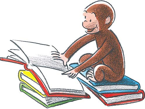 6 Inch Curious George Book Reading Decal Classic Storybook Monkey Removable Peel Self Stick Wall Sticker Art (Decoration for Walls Laptop Yeti Tumbler) Nursery Bedroom Home Decor 5 1/2 x 4 1/2 inch ()