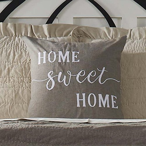 "Home Sweet Home Pillow Cover, 20"" x 20"", Farmhouse Style Accent Pillow with Embroidered Lettering"