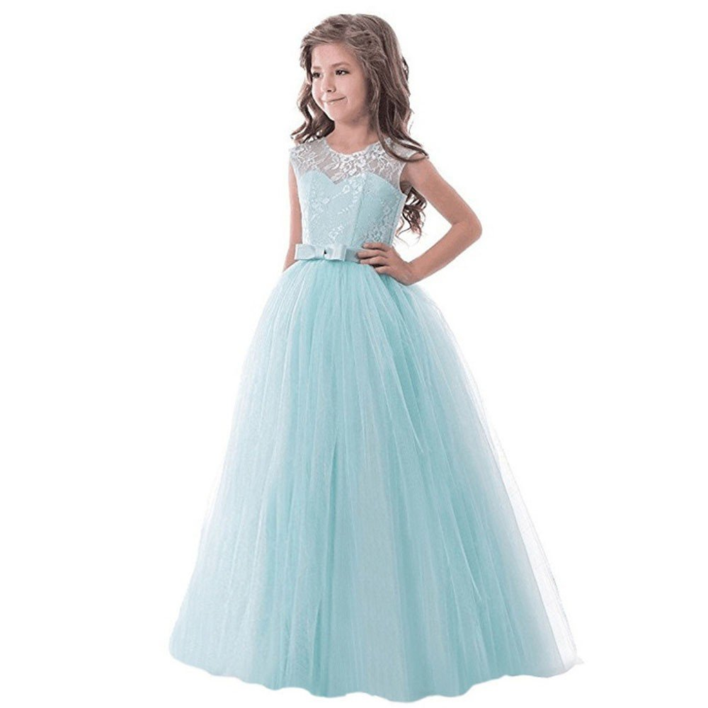 Lurryly Children Girls Bowknot Backless Formal Princess Zip Net Yarn Party Dress 5-13 T