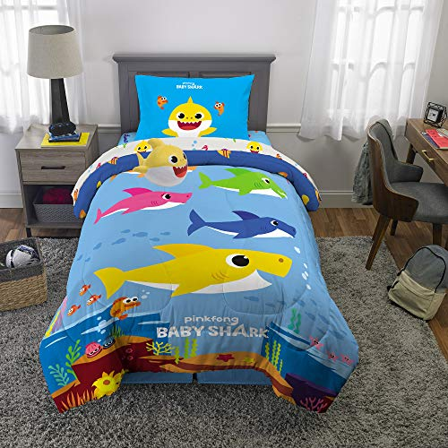 Franco Kids Bedding Super Soft Comforter with Sheets and Plush Cuddle Pillow Set, 5 Piece Twin Size, Baby Shark (And Matching Sets Crib Bedding Twin)