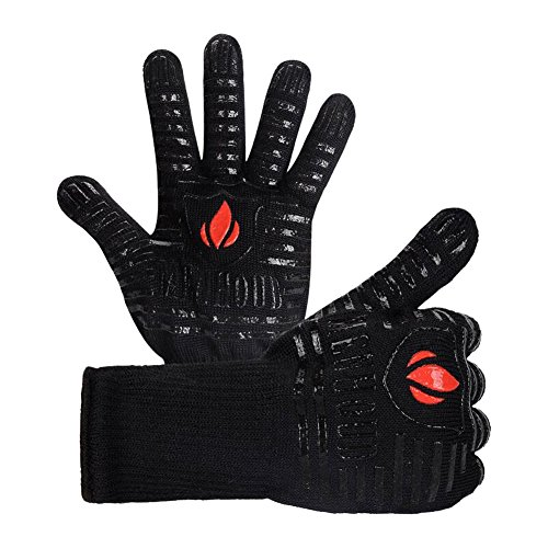 BBQ Grill Cooking Gloves Oven Mitts- 932°F Extreme Heat Resistant Gloves - 1 Pair - 14