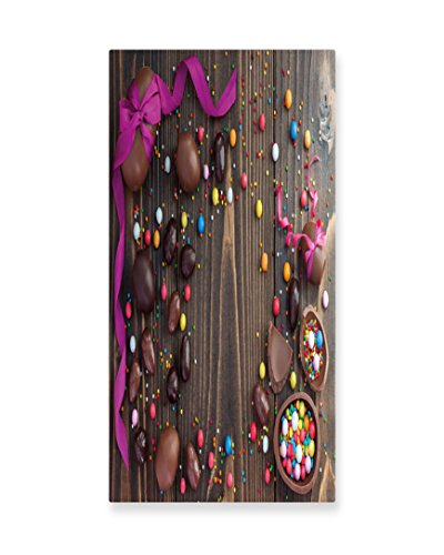 Lunarable Easter Wall Art, Wooden Board with Chocolate Eggs
