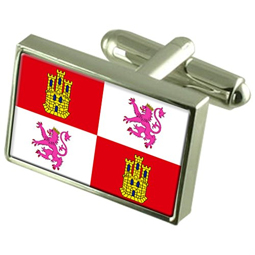 Castilla-Leon Sterling Silver Flag Cufflinks by Select Gifts