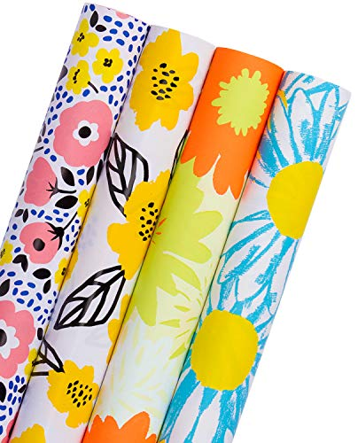 WRAPAHOLIC Gift Wrapping Paper Roll - Vibrant Floral Design with Cut Lines for Birthday, Mother Day, Wedding, Easter Gift Wrap - 4 Rolls - 30 inch X 120 inch Per Roll (Gift Wrap Spring)