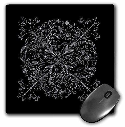 3dRose LLC 8 x 8 x 0.25 Inches Mouse Pad, Pretty Lacey Flower Decorated Square in White on A Black Background (mp_78373_1)