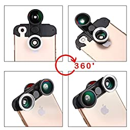 AFAITH® 4-in-1 Phone Camera Lens Kit (2 Fish Eye Lens + 2 in 1 Macro Lens and Wide Angle Lens) For iPhone 6 4.7