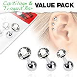 3 Pcs Value Pack of Assorted 316L Tragus Bar with Press Fit Clear Gem Top