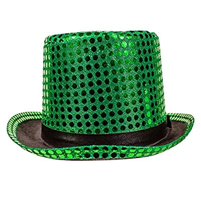 Green Fedora Sequin Top Hat for St. Patricks Day Accessories