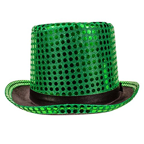 Green Sequin Top Hat (Marching Band Halloween Costume)