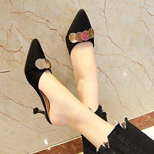 Llevar En Zapatos El OME Zapatillas La De amp;QIUMEI A Hembra Verano Verano Negro Sandalias Altos 5qa7AP7wx