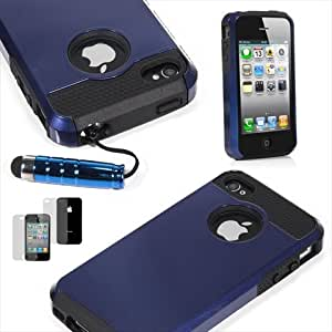 TCD for Apple iPhone 5 5S [BLUE ON BLACK] Hybrid Rugged Protective Defender Series Combo Case Cover Multiple Layers Shock Ultimate Protection [Includes FREE SCREEN PROTECTOR AND STYLUS PEN]