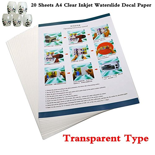 Y A4 Clear Inkjet Water slide Decal Paper Craft Transfer (Transparent) (Inkjet Water Slide Transfer Decal)