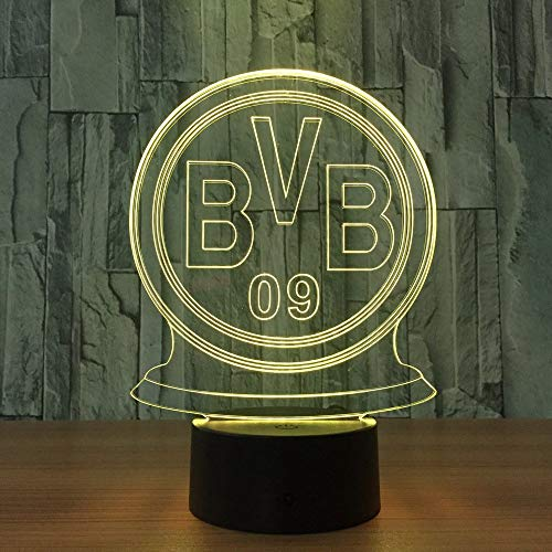 1 Pack,Multi LED German Soccer Team for BVB Night Light Football Club 3D Illusion Table Lamp 7 Color Changing Luminaria Touch Lights -