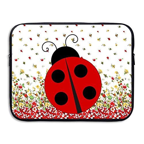 (Summer Moon Fire Red Ladybug Water Repellent Laptop Case Bags Printed Ultrabook Briefcase Sleeve Bags Cover for MacBook Pro/Notebook/Acer/Asus/Lenovo Dell)