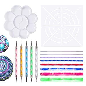 Mandala Dotting Tools for Painting Rocks Pen Dotting Tools Mandala Stencil Brush Set 15 PCS